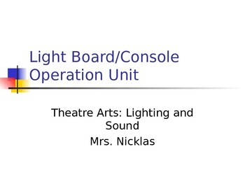 Theatre Light Board Operation Unit Power Point with Key Terms