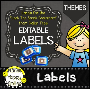 "Thematic Editable Labels ~ Labels for the ""Snack Container"