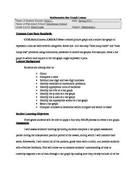Thematic Unit Mathematics Bar Graph Lesson