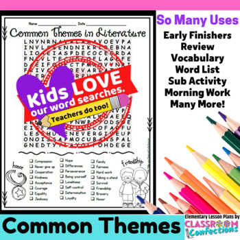Theme Activity: Theme Word Search: Theme Vocabulary