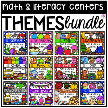 Theme Math and Literacy Centers for Preschool, Pre-K, TK,
