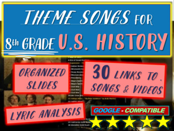 Theme Song for each week of 8th grade US history: includes