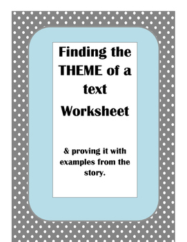 Theme Worksheet
