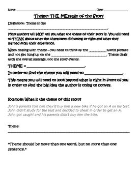 Theme Worksheet Bundle