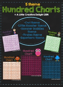 Themed Hundred Charts- 5 pack bundle