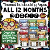 Themed Writing Pages for All 12 Months Bundle