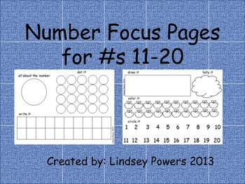 Themed Number Focus Pages #s 1-20