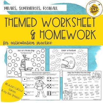Themed Worksheet & HW Combo Pack - Superheroes, Pirates, Football