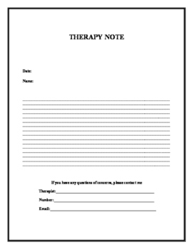 Therapy Data Sheet