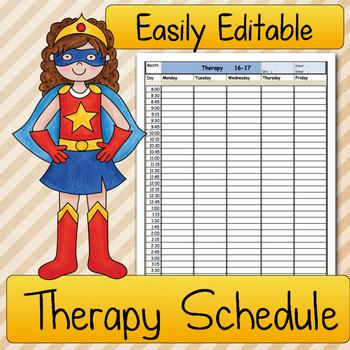 Therapy SCHEDULE: Speech Therapy, Occupational Therapy, Ph