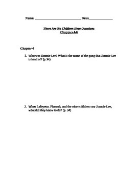 There Are No Children Here Study Guide Questions for Chapters 4-6