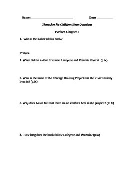 There Are No Children Here Study Guide for Chapters 1-3