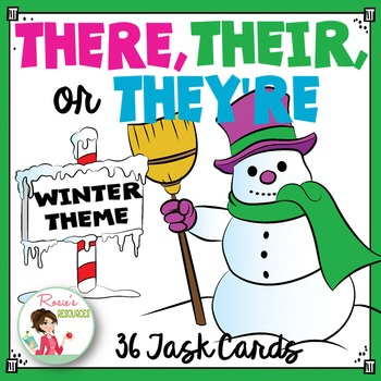 There Their They're Task Cards {Homophones} Winter Theme