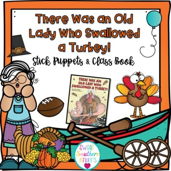 There Was an Old Lady Who Swallowed a Turkey Stick Puppets