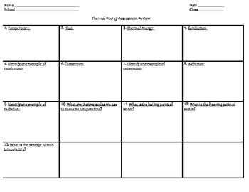 Thermal Energy Review Sheet