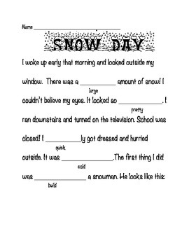 Thesaurus MadLibs Winter Version