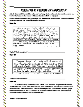 Thesis Statement Practice and Essay Outline Organizer