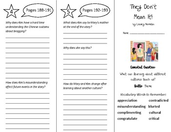 They Don't Mean It Trifold - Wonders 5th Grade Unit 3 Week 1