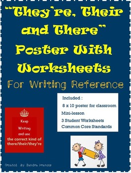 They're, Their and There Poster, Mini Lesson and Worksheet