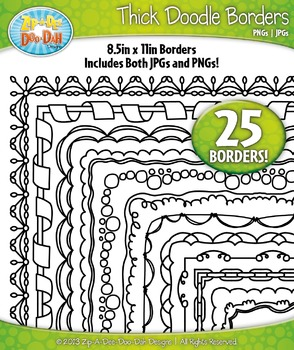 Thick Doodle Frame Borders Set 1  — Includes 25 Graphics!