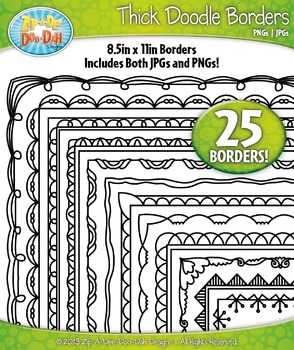 Thick Doodle Frame Borders Set 2  — Includes 25 Graphics!