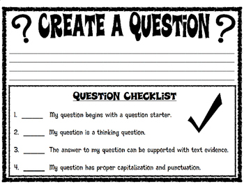 Thick Question Printable Activity with Checklist
