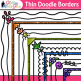 Thin Doodle Border Clip Art {Rainbow Glitter Frames for Wo