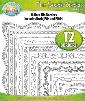 Thin Doodle Frame Borders Set 13  — Includes 12 Graphics!