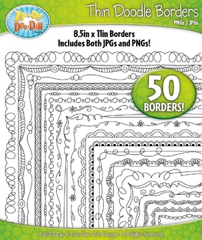 Thin Doodle Frame Borders Set 2  — Includes 50 Graphics!