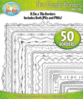 Thin Doodle Frame Borders Set 3  — Includes 50 Graphics!