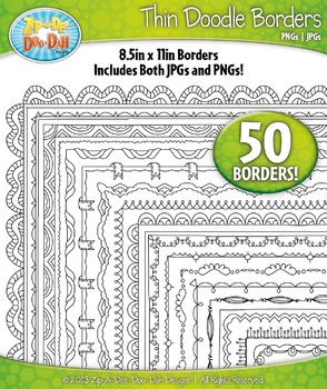 Thin Doodle Frame Borders Set 8  — Includes 50 Graphics!