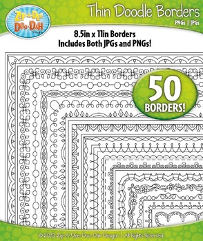 Thin Doodle Frame Borders Set 9  — Includes 50 Graphics!