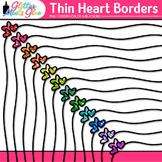 Thin Heart Border Clip Art {Rainbow Glitter Frame for Vale