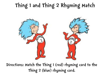 Thing 1 and Thing 2 Rhyming Match for Read Across America
