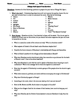 Things Fall Apart Test Review Worksheet