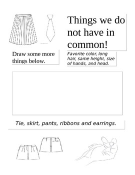 Things we do not have in Common Worksheet