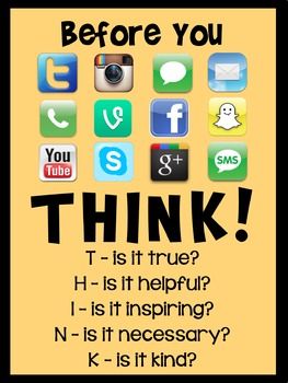 'Think Before You Post' Classroom Poster - Yellow