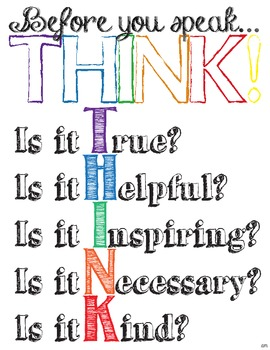 'Before you speak... THINK!' Colorful Classroom Poster