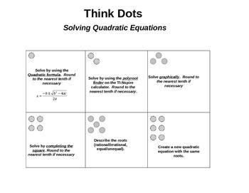 Think Dots: Solving Quadratic Equations