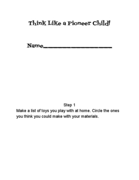 Think Like a Pioneer Child