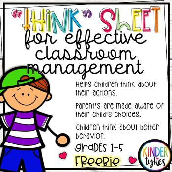 Think Sheet for Classroom Management Grades 1-5