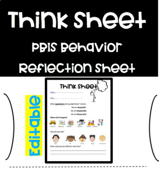 *Editable* Think Sheet to Reflect on Behavior