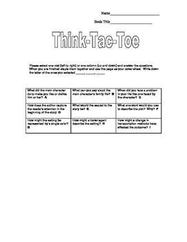 Think Tac Toe Board for Any Novel