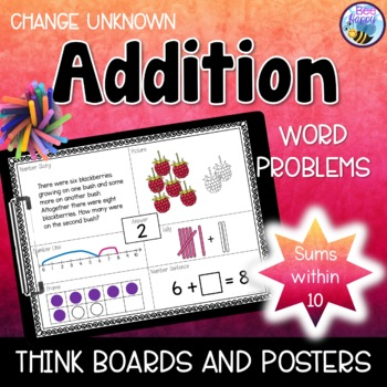 Addition Word Problems - Think Boards - Change Unknown - S
