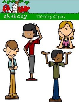 Thinking Kids / People Fun Clipart / Graphics 300dpi Color