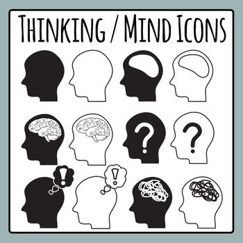 Thinking / Mind / Brain Icons Clip Art Set for Commercial Use