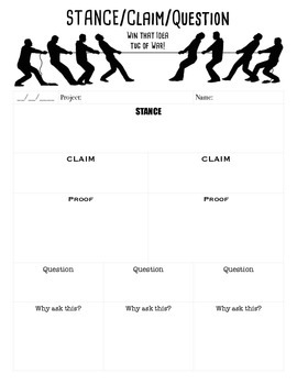 Thinking Routines: Stance/Claim/Question Black and White
