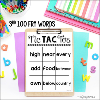 Third 100 Fry Words: Tic Tac Toe Boards
