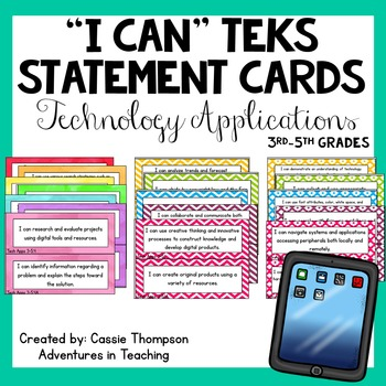 Third-Fifth Grade TEKS I Can Statement Cards- Technology A