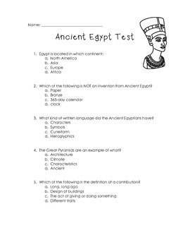 Third-Grade Ancient Egypt Quiz Assessment & Study Guide